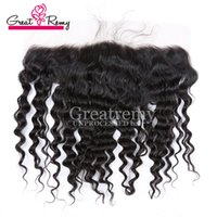Wholesale Ear to Ear Deep Wave Lace Frontal Closure Hairpiece with Baby Hair Greatremy Unprocessed Peruvian Virgin Human Hair Extension Front