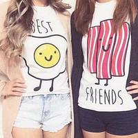 bacon t - new way kawaii soft bacon egg students printed t shirt Harajuku best friends tees Hipsters femme