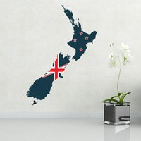Wholesale Flag Map of New Zealand Illustration Landmark Wall Sticker Wedding Decor Waterproof Removable Vinyl Wallpaper Decal Holiday Decoration