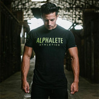 Wholesale ALPHALETE Strong Muscle Men T shirts Fashion Gym Training Fitness Crossfit T shirt Workout Short sleeve Brand Tees Tops Clothing