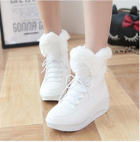 Wholesale 2017 New Arrival Hot Sale Shoes Women Boots Solid Slip On Soft Cute Women Snow Boots Round Toe Flat with Winter Fur Ankle Boots
