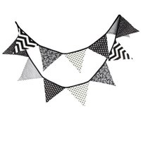 baby shower outdoors - m Fabric Cotton Banner Bunting Black and White Pennant Flags Garland Special Baby Shower Outdoor Tent Decoration Flags