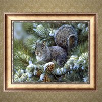 art squirrel - Full Drill DIY Diamond Painting Embroidery D Squirrel Cross Stitch Crystal Square Home Bedroom Wall Decoration Decor Craft Gift