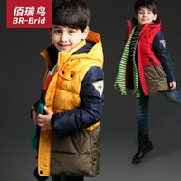 Wholesale Bai Rui birds winter new style clothes boys fashion blue patchwork jacket children in the long coat color