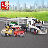 auto truck toy - Sluban Auto Transport Truck Plastic Building Blocks Set Transport Aircraft Vehicle Brick Toy Gift Compatible With Birthday