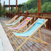 beach chaise lounge - Simple folding portable leisure beach chair wood canvas chaise lounge chair nap chair