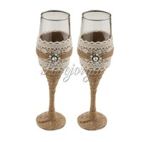 Wholesale Wedding Toasting Glasses Burlap Fabric Rhinestone Pearls Wine Cup For Xmas Party Banquet Home Wedding Decor Gifts Box