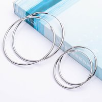 Wholesale New Arrival Silver Big And Small Hoop Earring European Vintage Design For Women Copper Material