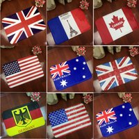 Wholesale Hot Sale National Flag Flannel Square Bathroom Carpet Living Room Bedroom Non slip Household Pad Carpets