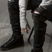 achat en gros de pantalon denim gros-Vente en gros Mode Hommes Straight Slim Fit Biker Jeans Pantalon Affligé Skinny Ripped Destroy Denim Jeans Washed Hiphop Pantalon Noir