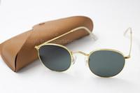 Wholesale 1pcs Fashion Round Sunglasses Eyewear Sun Glasses Designer Brand Black Metal Frame Dark mm Glass Lenses For Mens Womens Better Brown Cases