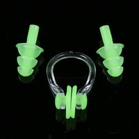 Wholesale Soft waterproof Silicone Swimming nose clip earplugs set Surf diving piscina swimming pool accessories for adults ear plug water