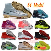 Wholesale Cheap mens high ankle football boots CR7 Mercurial suprfly IV V FG soccer shoes ACC magista obra II soccer cleats Hypervenom IC TF