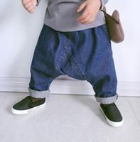 Wholesale Baby Toddler Denim Jeans Harem Pants Boy Girl Big Crotch Loose Pants Jeans Children Kids Casual Leisure Trouers Pants Elastic Waist Jeans