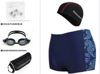 5 Pieces Men Swim Suit Plus Size Elastic Dry Dry Swimwear Trunks Caps + masques de natation + bouchons d'oreille + sacs d'organisation étanche