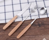 Wholesale Stainless steel Dinnerware Set fork knife spoon set with wood holder fork knife spoon packed in a hanger bag