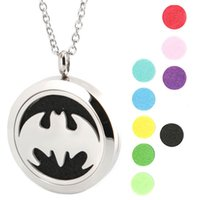 Lockets bat pendant - New Arrive Bat Aromatherapy Essential Oil surgical Stainless Steel Perfume Diffuser Locket Necklace with chain and pads