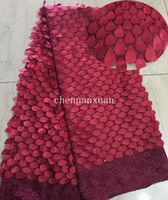 Wholesale wine color Latest African French Lace Fabric High Quality African Tulle Fabric latest nigerian tulle lace for Wedding