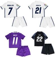 Wholesale Hot children Maillot de Foot enfants Bale Ramos White purple black Running Sporting sets suit