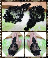 Wholesale Fashion Flower Floral Venice Venise Black Beaded Lace Applique Sewing Trims DIY Craft TT
