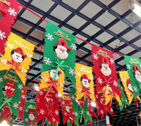 Wholesale Santa Claus snowman red and green flag with rope Christmas decorations the six flags HY1295