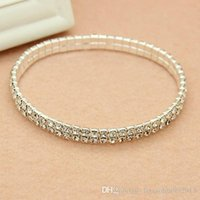 Wholesale 2017 In Stock Cheap Elastic Row Rhinestone Pearl Wedding Bracelets Party Bridal Jewelry Women Party Evening Prom Bridal Accessories