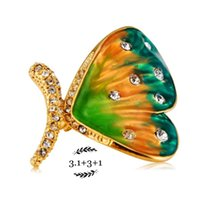 anniversary paintings - A brooch Butterfly paintings crystal brooch