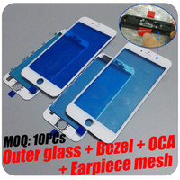 Wholesale Flexiable MOQ Free DHL For iPhone S Plus Original Bezel Frame With OCA Outer Glass Lens Earpiece Mesh Assembled