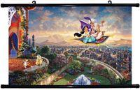 Watercolor aladdin figures - quot x16 quot inch Thomas Kinkade Aladdin Princess Jasmine Poster HD HOME Hanging scroll Decor ART CANVAS printing