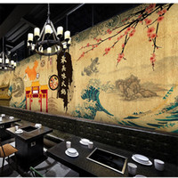 barbecue smoking wood - D Stereo Custom Wallpaper Japanese Style Restaurant Retro Hot Pot Barbecue Living Room Wallpaper Mural