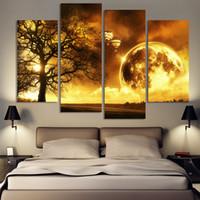 4 Панель древнее дерево Печатный пространство Вселенной Картины Холст Картина Cuadros Земля Пейзаж Картина для гостиной Нет кадров