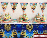 Wholesale cartoon Minions Birthday party supplies disposable plastic table cloth mask cap plate cup blowout straw flags