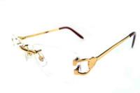 al por mayor gafas de sol rojas blancas de diseño-Las mujeres de las gafas de sol ópticas de la manera califican el círculo redondo redondo del diseñador de la marca de fábrica del diseñador los vidrios ovales del cuerno del búfalo