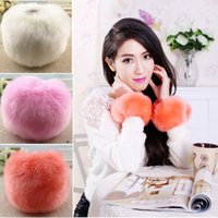Wholesale Imitation Rabbit Fur Oversleeve Windproof Winter Warm Women Soft Covered Fingerless Hand Ring Cuff Wristband Sleevelet B0920