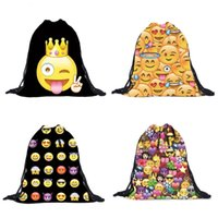 Wholesale Fashion Emoji Backpacks D Printing Bags Pocket Shopping Bag Drawstring School Party Bag Backpack Gifts Sack Bags