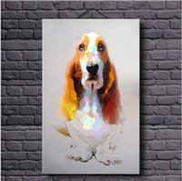 al wall - Cartoon Dog Pure Hand Painted Modern Style Wall Decor Abstract Animal Art Oil Painting On Canvas customized size al TOP