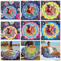 Wholesale 2017 new cm Polygon prints tassel round bath towel Mandala Tapestry yoga mat lotus colorful beach towel blanket shawl designs B1184
