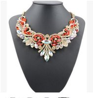 Wholesale New Europe Hot Color Women Necklace Women flowers wedding necklace