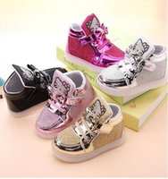Wholesale 2017 new children casual shoes rhinestone kt cat bow child sport shoes LED lights shoes baby martin boots
