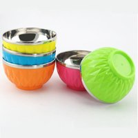 Wholesale 5 colors Student Children Stainless Steel bowls Diamond Pattern Double Layer Soap Anti hot Bowls