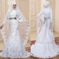 Trumpet/Mermaid arab dress designer - 2017 Designer White High Neck Arab Mermaid Wedding Dresses Vintage Long Sleeves Lace Muslim Hijab Mermaid Wedding Dress