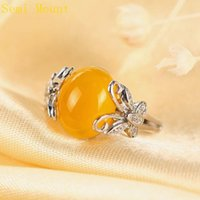 Asian & East Indian agate butterfly - Fine Silver Sterling Silver Plated White Gold Crystal X11mm or x12mm Oval Cabochon Opal Agate Amber Semi Mount Wedding Ring Butterfly