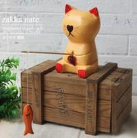 Décor de maison vintage Zakka Artisanat en bois sculpté à la main Ornements Dispositifs de tournage Pêche Figurine de chat Carving