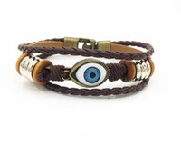 Wholesale Europe and the United States punk retro braided leather bracelet alloy string bead cowhide bracelet men and women variety