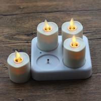 Remoto listo sin llama Vela luz de té Tealight recargable set de color marfil de 4 con base de vela blanca