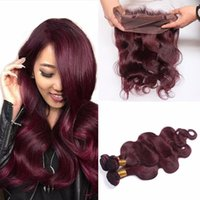 Wholesale Burgundy Peruvian Straight Hair With Pre Plucked Lace Frontal Closure J Wine Red Full Lace Band Frontal With Bundles