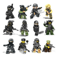 Wholesale 12PCS City police Swat team CS Commando Minifigures Army soldiers with Weapon Gun Building Blocks Compatible Legoes Military Toy Christmas g