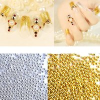 art color wheels - wheel Steel Balls Nail Art Gold and Silver Color Beads Decoration Mini Beads Little Steel Balls for finger Decorations