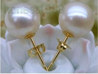 Wholesale 10mm genuine super round white south sea pearl earring k solid yellow gold