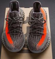 Wholesale Best SPLY Boost V2 New Kanye West Boost V2 SPLY Season Running Shoes Grey Orange Stripes